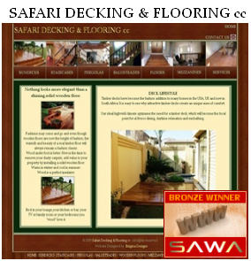 SA Web Design Awarded for the Design Of Safari Decking & Flooring  Website