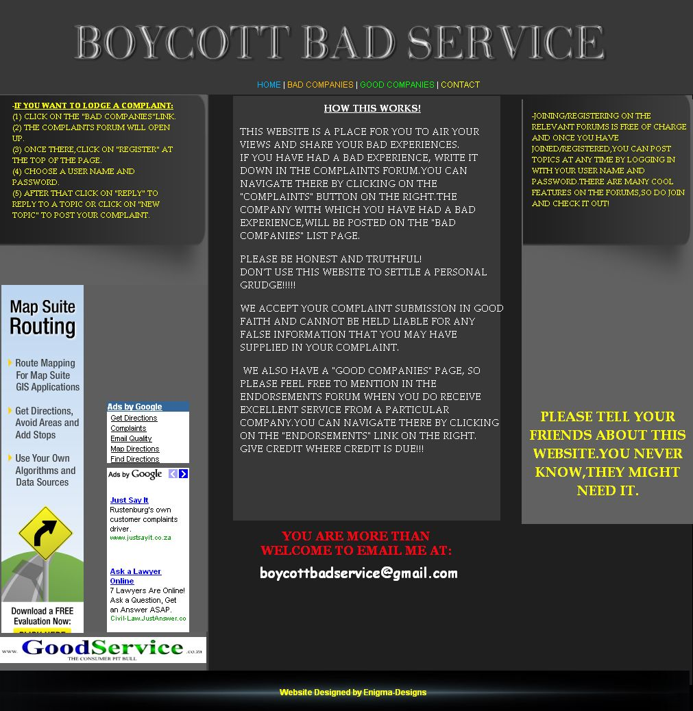 Boycott Bad Service