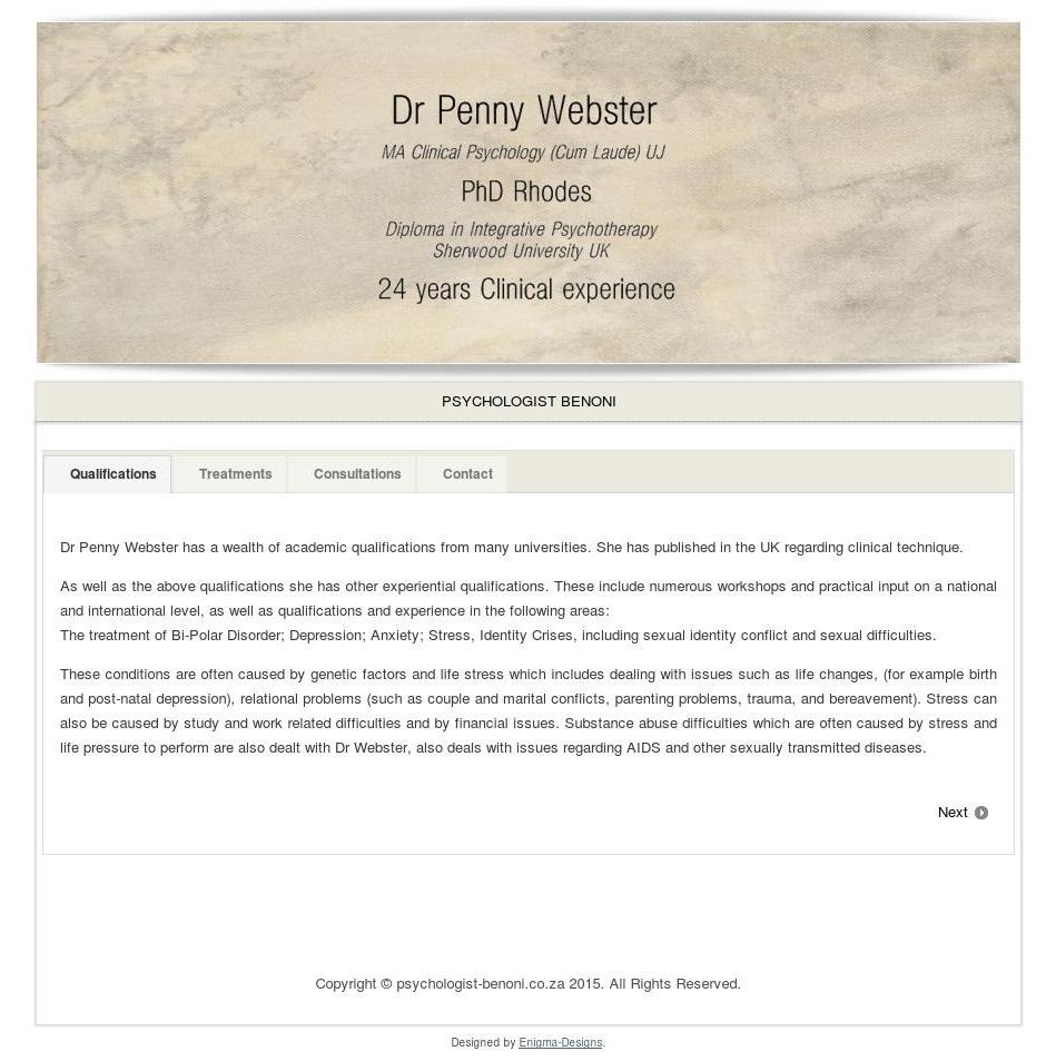 Clinical Psychologist – Dr Penny Webster